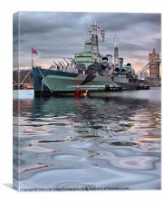 HMS Belfast At Twilight, Canvas Print
