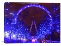 Christmas At The London Eye Zoom, Canvas Print