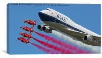 BOAC  747 with The Red Arrows Flypast - 4, Canvas Print