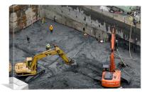 CONSTRUCTION SITE diggers and workmen in the found, Canvas Print