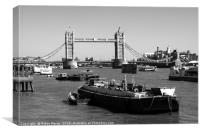 Tower Bridge From The River Thames , Canvas Print