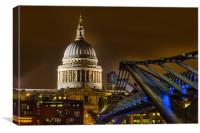 St Pauls and the Millennium Bridge, Canvas Print