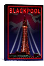 Blackpool Tower Toffee Apple Red, Canvas Print