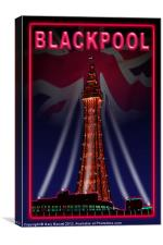 Blackpool Tower Candy Pink, Canvas Print