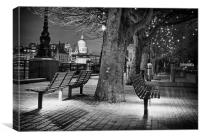 Illuminated River Thames Pathway, Canvas Print