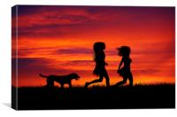 Two Girls and their dog running at sunset, Canvas Print