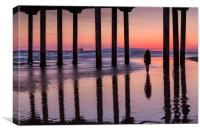 Huntingdon Beach Pier Silhouette at sunset, Canvas Print