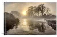 Sunrise on a winters Day on the Tamar River, Canvas Print