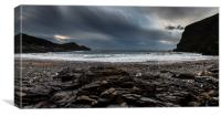 Crackington Haven, Cornwall, Panorma., Canvas Print