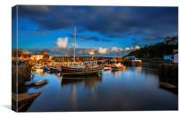 Sunset Mevagissey Harbour, Cornwall., Canvas Print