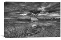 """""""CATCHING THE LIGHT Pt1 (Mono Version) (Boats on t, Canvas Print"""