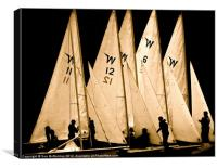Sailing boats in silhouette, Canvas Print