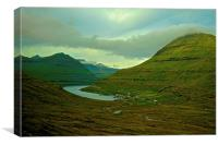 Mountains and small village in the Faroe Islands, Canvas Print