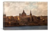Valletta in morning sunshine, Canvas Print