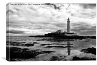 St Mary's Island in mono, Canvas Print