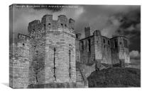 Warkworth Castle in Black and White, Canvas Print