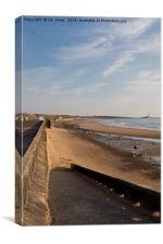 Whitley Bay beach and promenade, Canvas Print