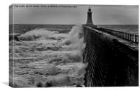 Tynemouth Pier in B&W, Canvas Print
