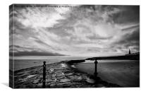 Early morning at Cullercoats Bay in B&W, Canvas Print