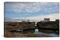 Seaton Sluice harbour in Northumberland, Canvas Print