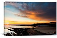 Daybreak over Cullercoats Bay, Canvas Print