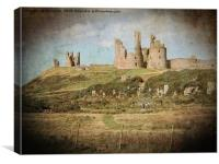 Artistic Dunstanburgh Castle in Northumberland, Canvas Print