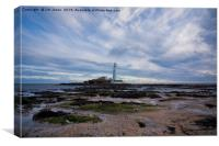 Blustery day at St Mary's Island, Canvas Print