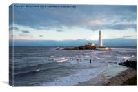 February Sunshine at St Mary's Island, Canvas Print