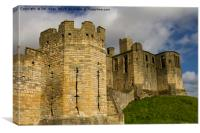 Warkworth Castle Battlements and Keep, Canvas Print