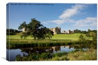 Alnwick Castle reflected in the River Aln, Canvas Print