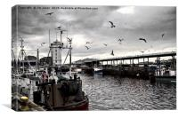 North Shields Fish Quay with just a hint of colour, Canvas Print