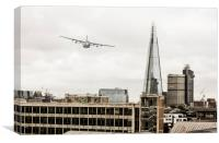 The Shard and the last flight of the C 130 k, Canvas Print