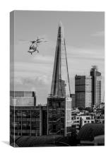 The Shard helicopter fly past, Canvas Print