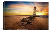 Lighthouse Sunset Wales, Canvas Print