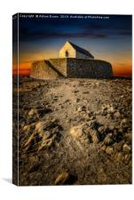 St Cwyfan Church Sunset, Canvas Print