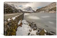 Icy Lake Ogwen Snowdonia, Canvas Print