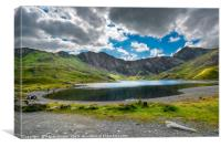 Glaslyn Lake and Snowdon Mountain, Canvas Print