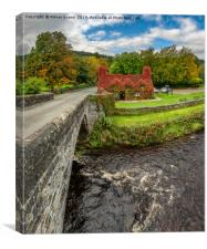 Llanrwst Tea Cottage Autumn Vertorama, Canvas Print
