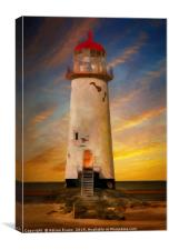 The Point of Ayr Lighthouse Sunset, Canvas Print