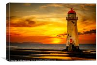 Sunset At The Point of Ayr Lighthouse, Canvas Print