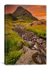 Tryfan Mountain East Sunset Snowdonia, Canvas Print