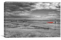 The red rowing boat, Canvas Print