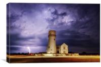 Lightning over the old lighthouse , Canvas Print
