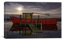 Moonrise and high tide at Thornham in Norfolk , Canvas Print