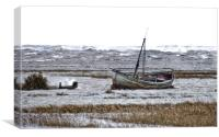 A high tide on a windy day at Thornham , Canvas Print
