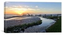Sunset over the old jetty at Snettisham , Canvas Print