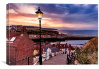 Whitby By Lamplight, Canvas Print