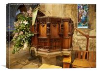 Elaborate wood carvings on the pulpit in St Andrew, Canvas Print