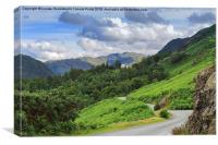 Borrowdale from the road north of Grange, Lake Dis, Canvas Print