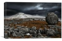Twistleton scar eratic, Canvas Print